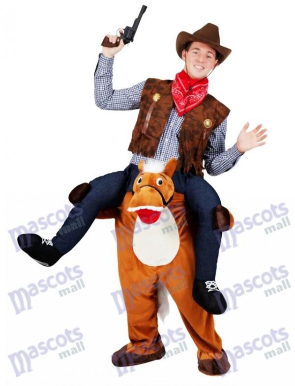Wild Western Pferd tragen mich Piggy Back Maskottchen Kostüm Farm Cowboy Kostüm