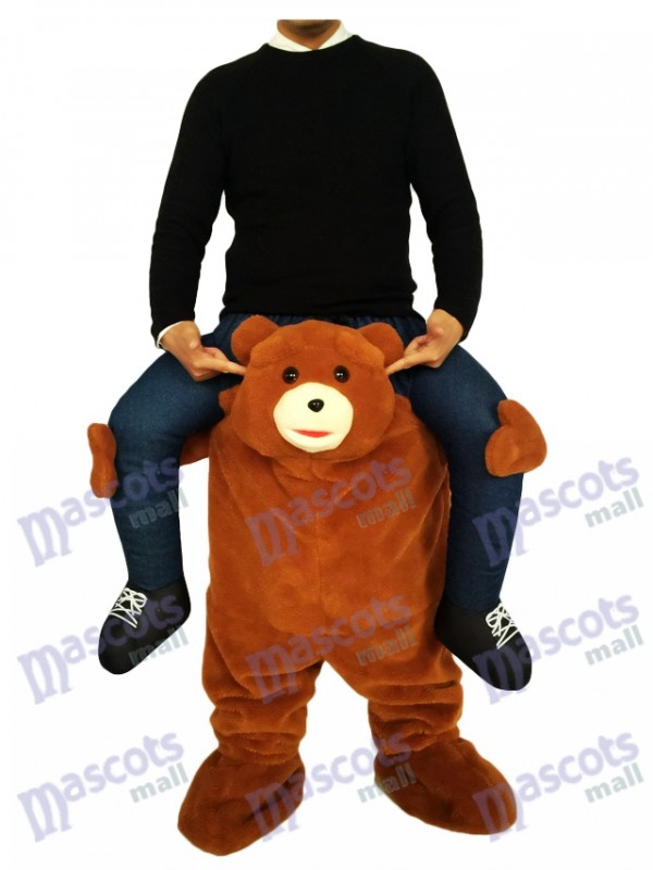 Piggyback Brown Bear Carry Me Fahrt auf Teddybär Maskottchen Kostüm