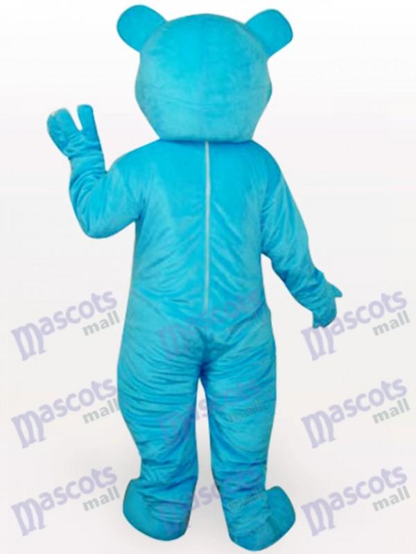 Blauer Bär Kurzes Plüsch Maskottchen Kostüm