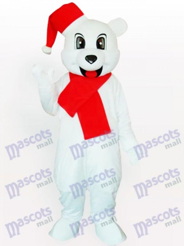 Weißer Bär mit Weihnachtsmütze Maskottchen Kostüm