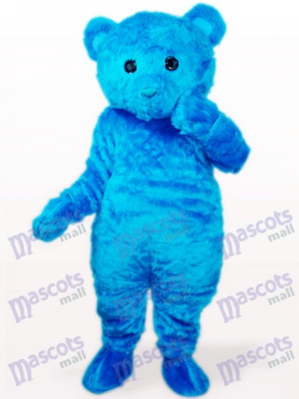 Blaues langes Haar Bär Tier Maskottchen Kostüm