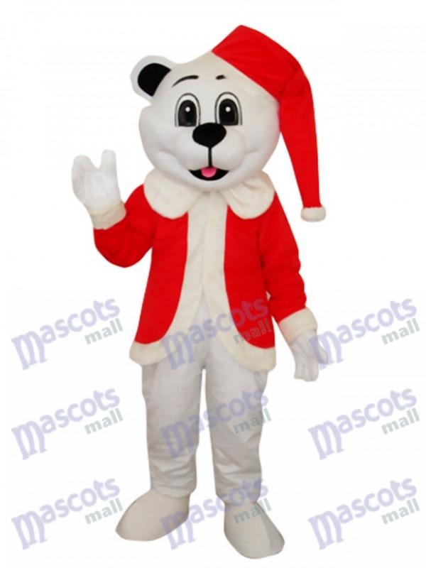 Weißer Bär mit Nikolausmütze Maskottchen Kostüm Tier