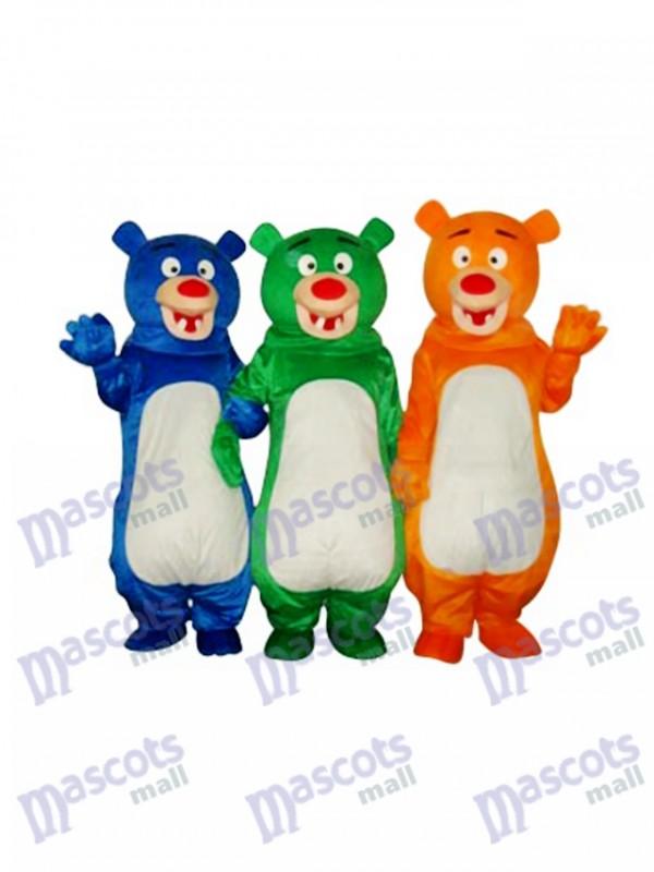 Maskottchen-Kostüm-Tier (blaues u. Grünes u. Orange Bärn-Familie (drei Bären)