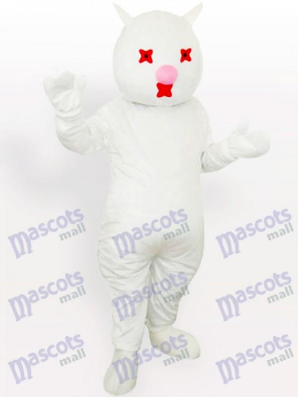 Weißes Katzen-Maskottchen-Kostüm für Erwachsene