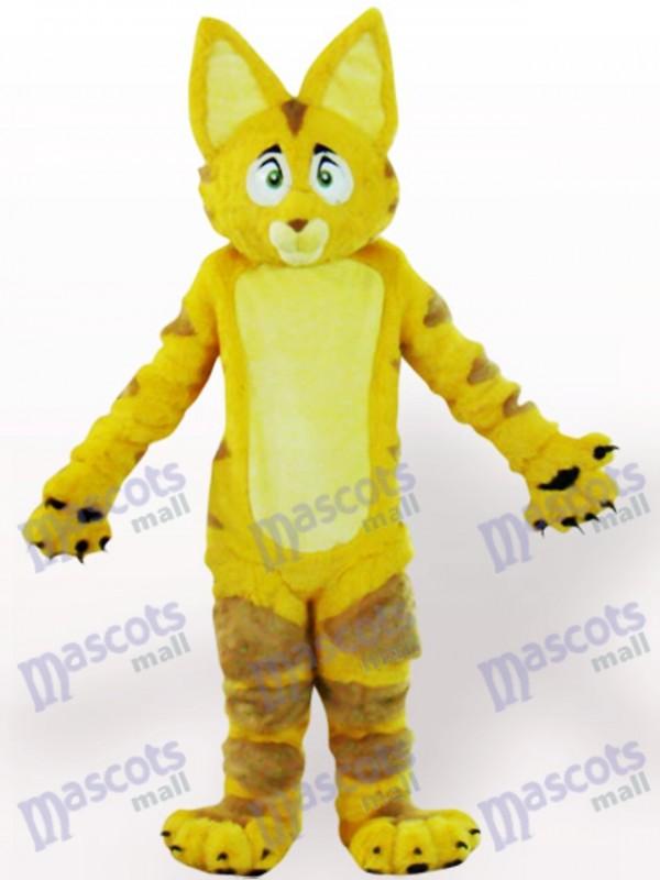 Gelbes Katzen-Tier-Maskottchen-Kostüm für Erwachsene