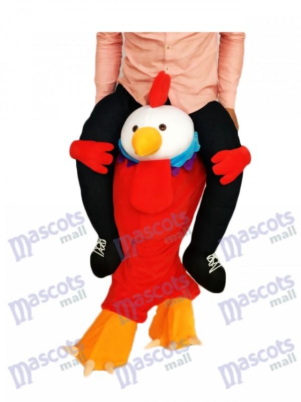 Huckepack Red Chick Carry Me Ride auf Hahn-Maskottchen-Kostüm