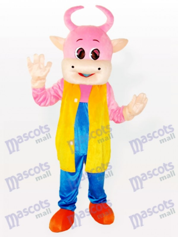 Entzückende Pinky Kuh Tierisches Maskottchen Kostüm
