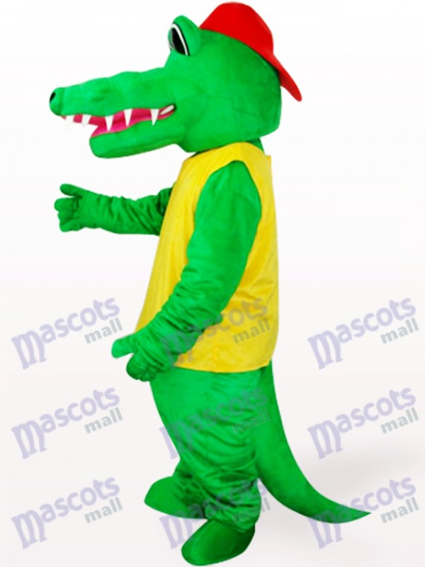 Afrika grün und gelb Krokodil Tier Maskottchen Kostüm für Erwachsene
