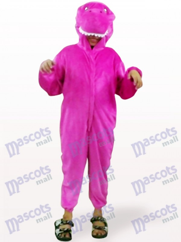 Glänzendes Purpurrotes Dinosaurier offenes Gesicht scherzt Maskottchen Kostüm