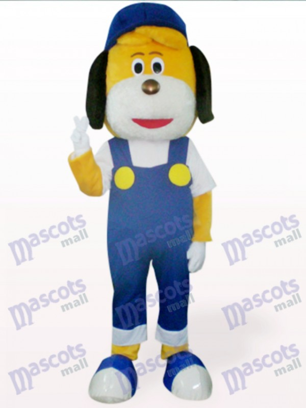 Blue Dog in Hat Mascot Costume