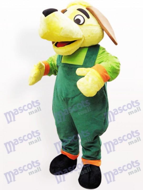 Grüner und gelber Hund Plüsch Maskottchen Kostüm für Erwachsene
