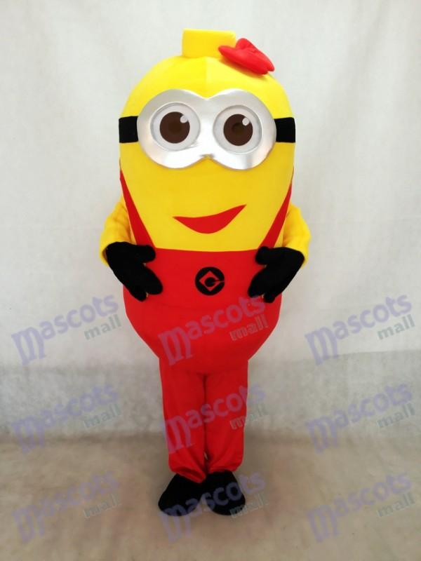 Despicable Me Minions Maskottchen Kostüm mit roten Hosenträgern & Bowknot