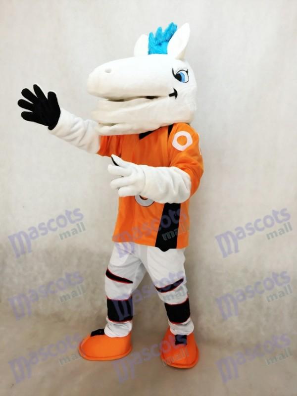 Mustang Pferd Broncos mit blauem Mähnen Maskottchen Kostüm