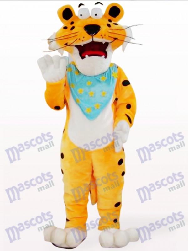 Orange Leopard mit blauem Schal Maskottchen Kostüm