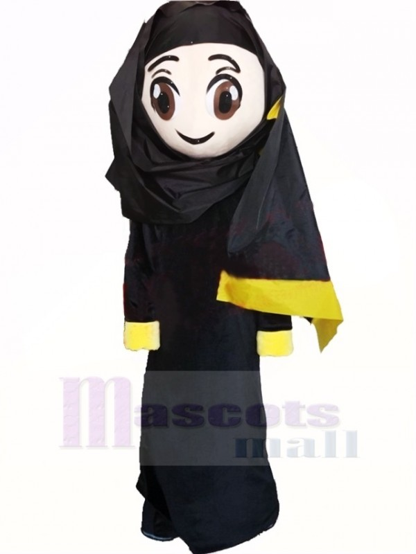 Süß Araber Mädchen im Schwarz Maskottchen Kostüm Karikatur