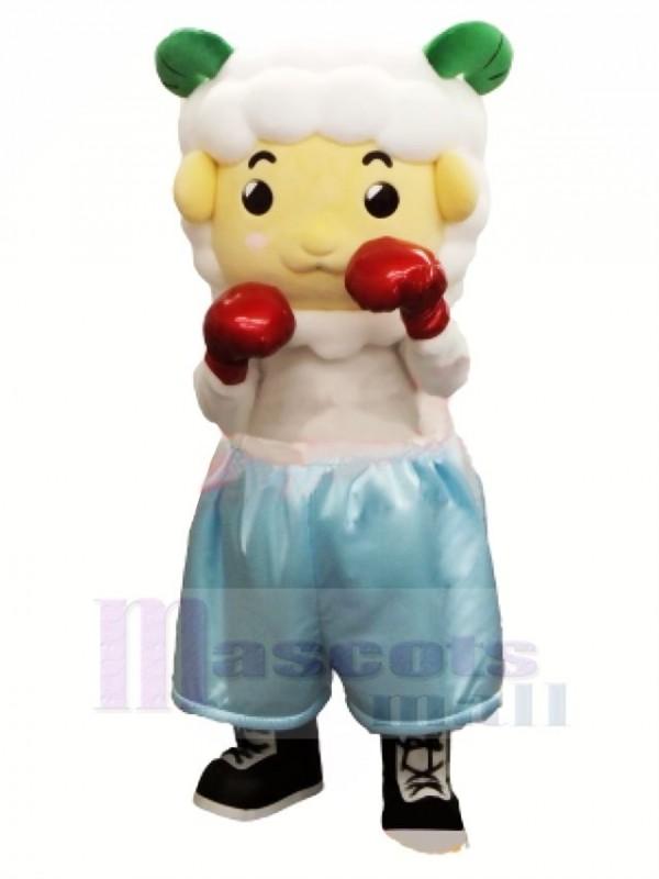 Süß Boxer Schaf Maskottchen Kostüm Karikatur