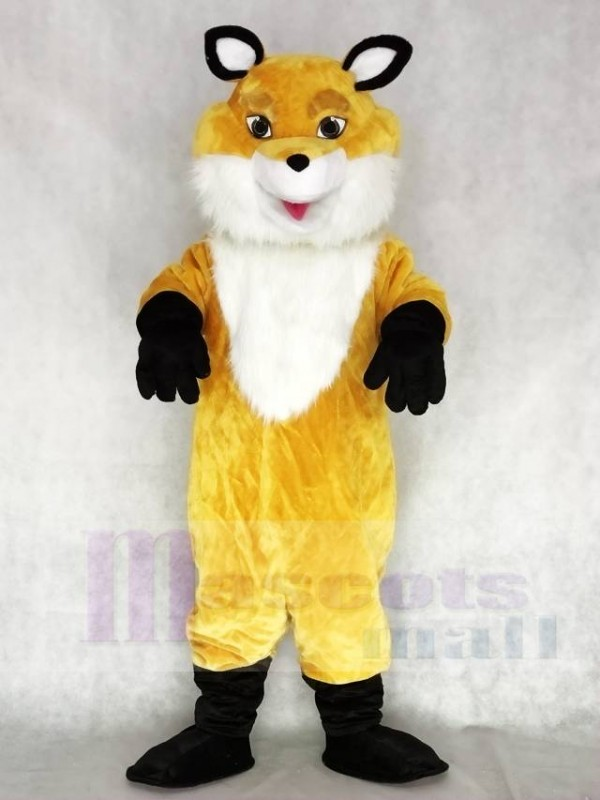 Neues gelbes Fox Maskottchen Kostüm mit weißer Brust