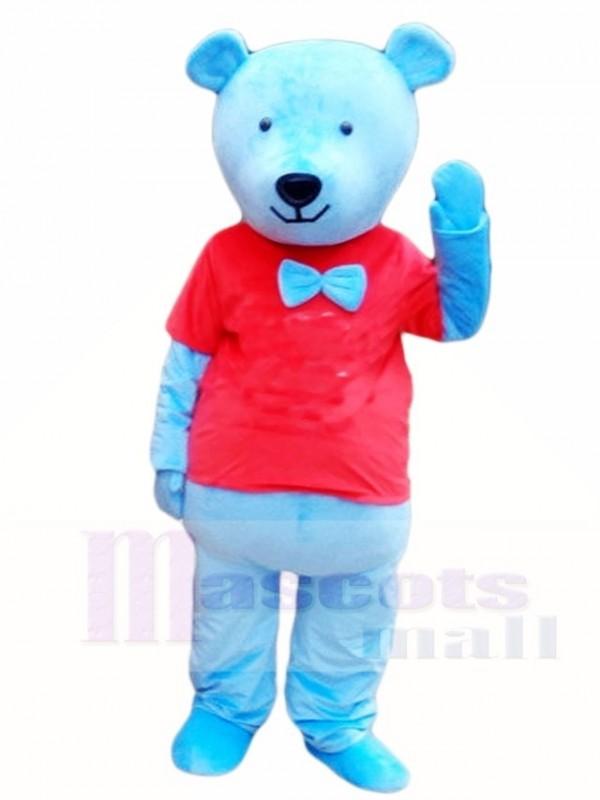 Blau Teddy Bär im roten Hemd Maskottchen Kostüme Tier