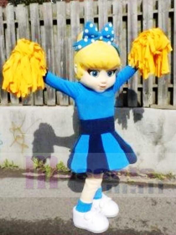Blaues Kleid Nettes Cheerleader Maskottchen kostümiert Leute