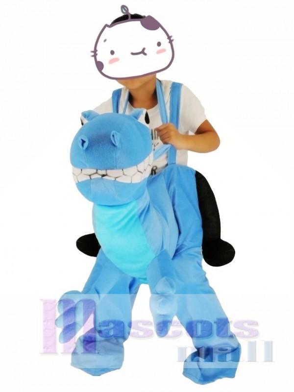 Für Kinder Huckepack tragen mich weiter Blau Drachen Maskottchen Kostüm