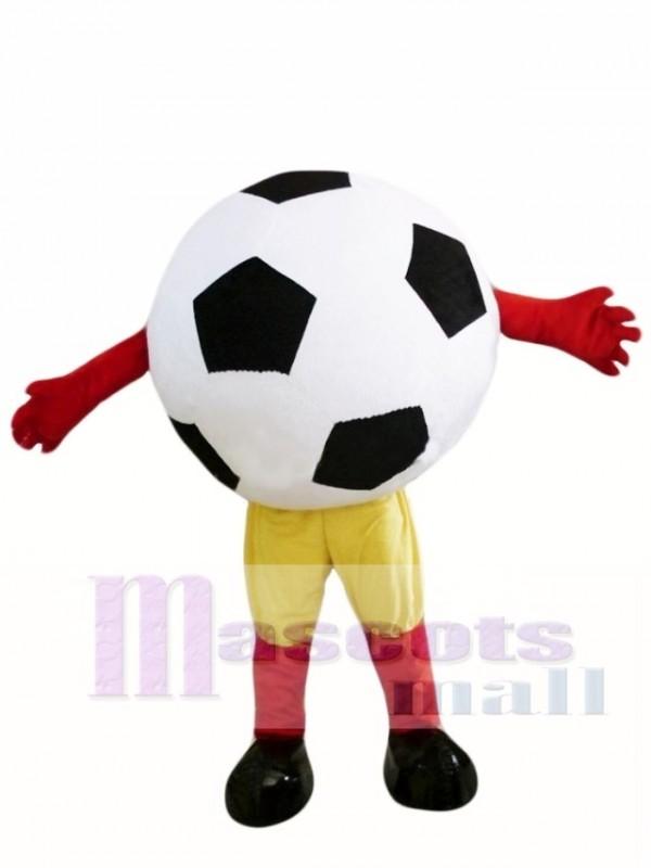 Schwarze Ball Fussball Maskottchen Kostume Mit Gelben Shorts