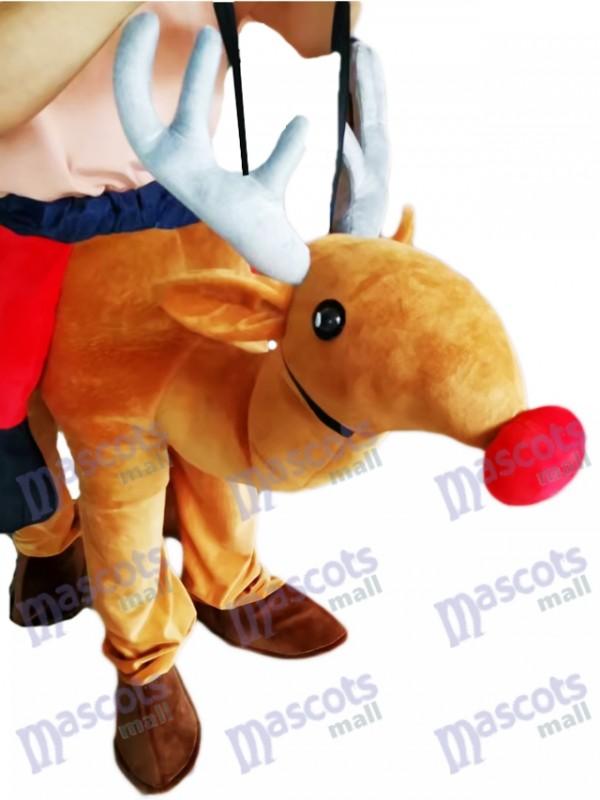 Carry Me Ride Rote Nase Rudolph Piggyback Rentier Maskottchen Kostüm