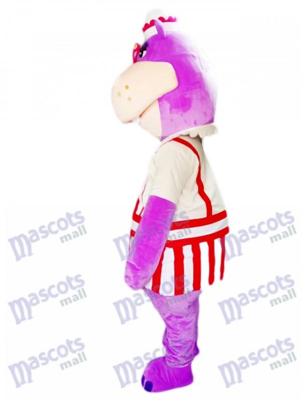 Lila Nilpferd Hippopotamus mit Brille Maskottchen Kostüm Tier