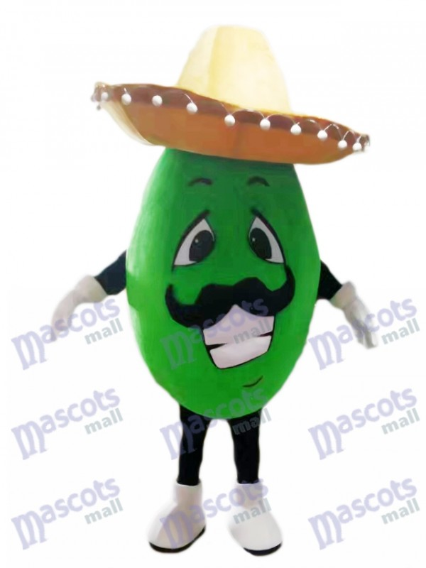 Mexikanisches Avocado Maskottchen Kostüm mit einem großen Hut