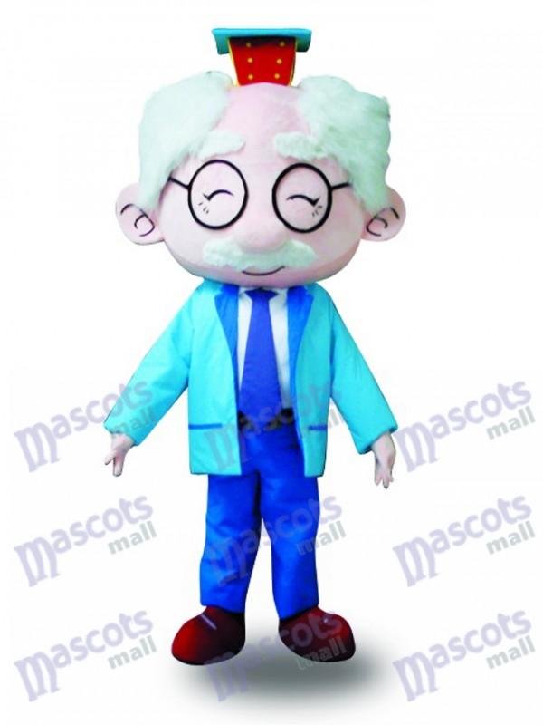 Blaues Anzug Gläser altes Mann Maskottchen Kostüm
