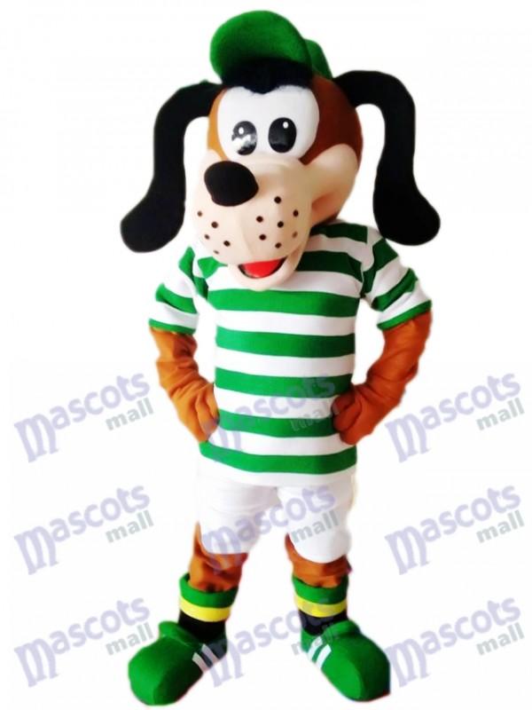 Netter Hund im gestreiften Hemd Maskottchen Kostüm Tier