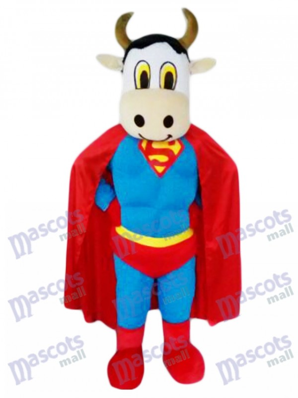 Super Cow Rinder mit Supermann Cape Maskottchen Kostüm Tier