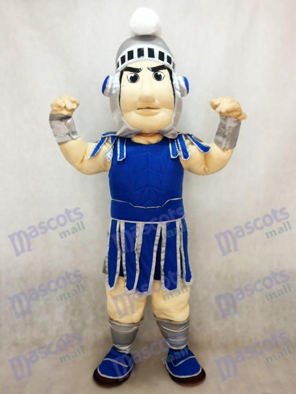 Dark Blue Spartan Trojan Ritter Sparty Maskottchen Kostüm mit silbernen Helm