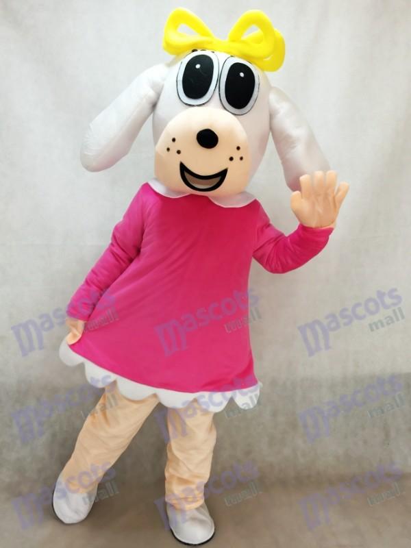 Weiblicher Hund im Fuchsia Kleid Maskottchen Kostüm Tier