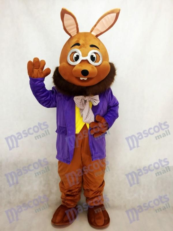Ostern Mr. Brown Bunny mit lila Smoking Maskottchen Kostüm