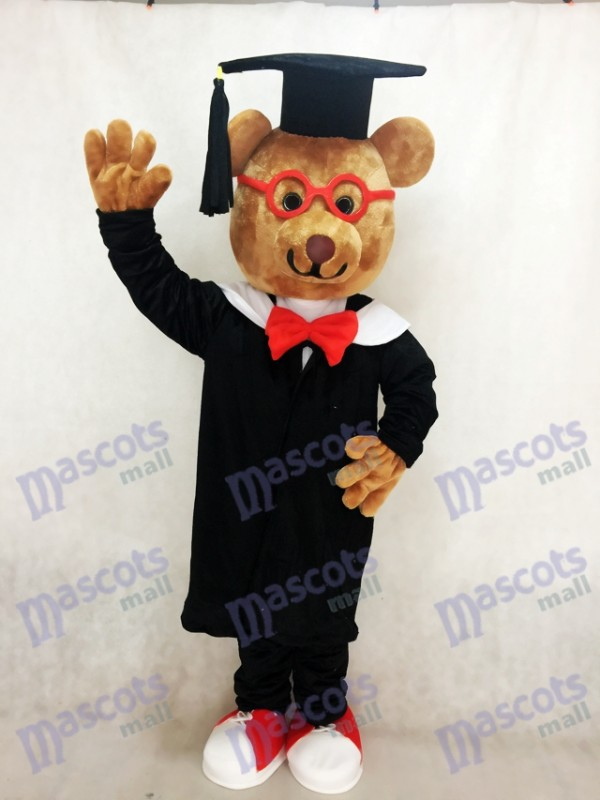 Bernard Bär Maskottchen Kostüm mit roten Rahmen Brille Tier