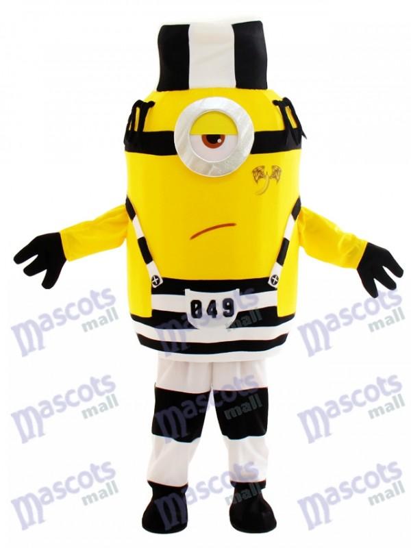 Unglücklicher Minion im Gefängnis Despicable Me Maskottchen Kostüm mit Hut Cartoon