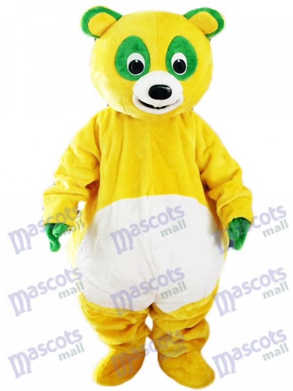 Gelber Bär mit grünen Augen Maskottchen Kostüm Cartoon Tier