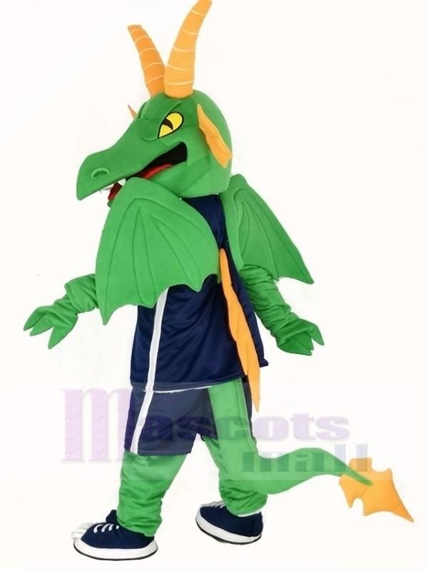 Grün und Orange Drachen Maskottchen Kostüm