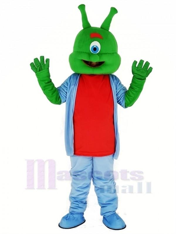 Grün Außerirdischer im Blau Maskottchen Kostüm Karikatur