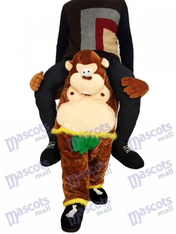 Huckepack-Affe Carry Me Ride brauner Affe mit grünen Blättern Maskottchen-Kostüm