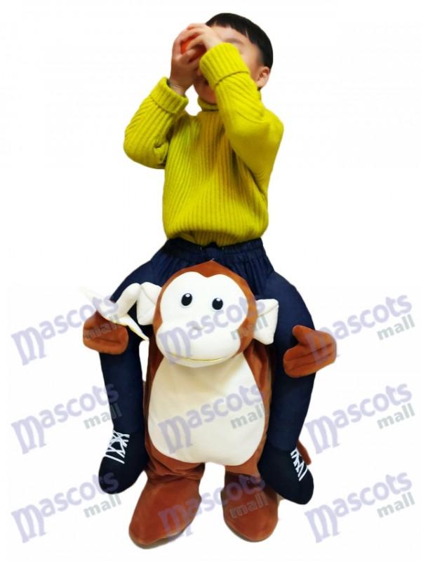 Piggyback Monkey Carry Me Fahrt brauner Affe mit einer Banane für Kid Maskottchen Kostüm