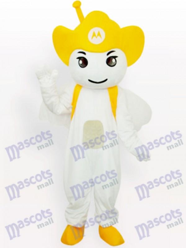 Gelbes Moto Angel Party Maskottchen Kostüm für Erwachsene