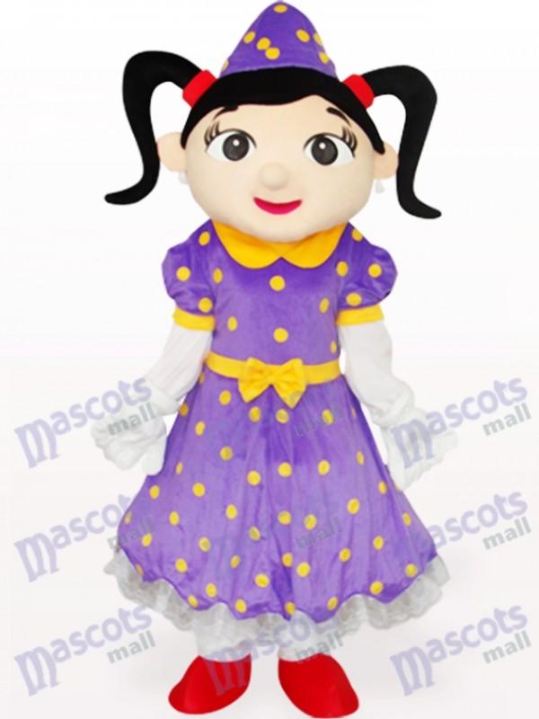 Mädchen im lila Kleid Cartoon Adult Maskottchen Kostüm