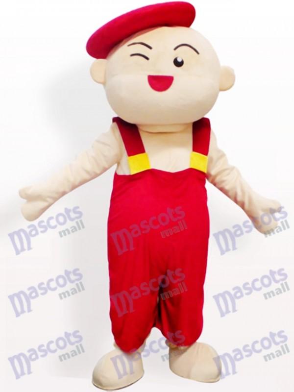 Roter Hut Jungen Karikatur erwachsenes Maskottchen Kostüm