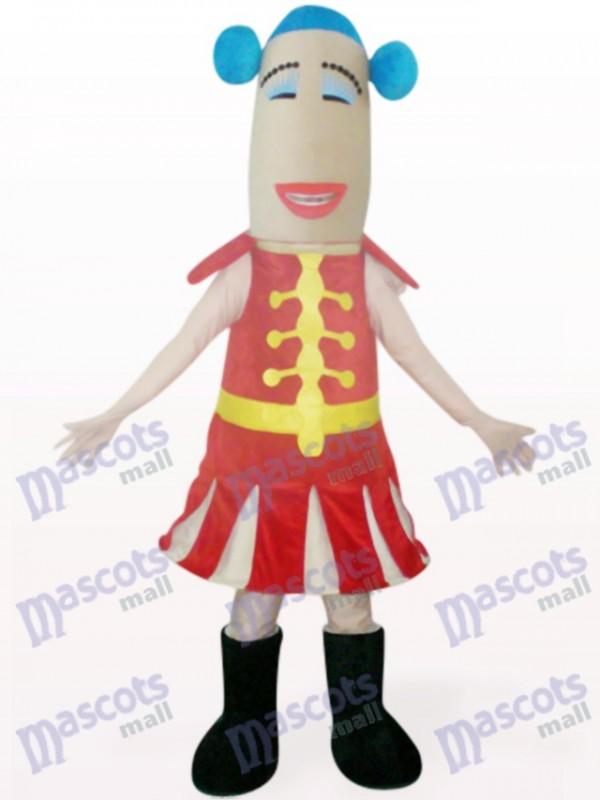 Rote Frau Cartoon Maskottchen Kostüm