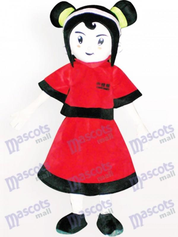 Rot gekleidetes Mädchen Karikatur erwachsenes Maskottchen Kostüm