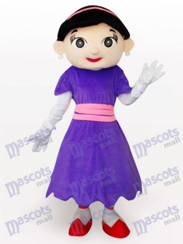 Purple Cow Girl Cartoon Adult Mascot Costume