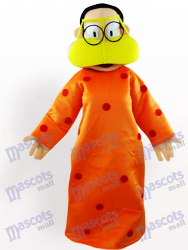 Fette Frau in der orange Kleidung Karikatur erwachsenen Maskottchen Kostüm