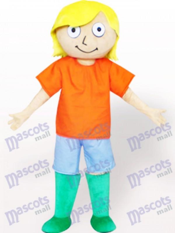 Gelbes Haar Junge Cartoon Adult Maskottchen Kostüm