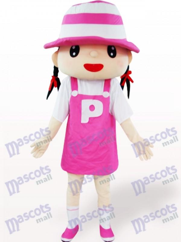 Rosa Hut Mädchen Karikatur erwachsenes Maskottchen Kostüm